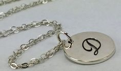 925 Sterling Silver Hand Stamped Initial Letter Pesonalized Necklace (SS03) AVAILABE TO PERSONALIZE.  WWW.STORES.EBAY.COM/PASARELLAS