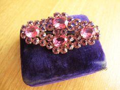 Antique Pink Rhinestone Brooch Pink Rhinestone Pin With