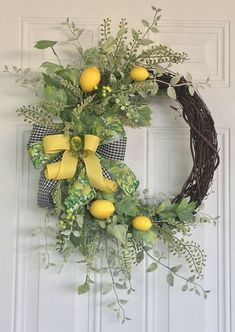 I love easy DIY summer wreaths, don't you? They bring a pop of color and a bit of character to your front door. Here we've gathered 60 Lovely Summer Wreath Design Ideas and Remodel hopes of getting you into the crafty spirit! Front Door Decor, Wreaths For Front Door, Door Wreaths, Diy Wreath, Grapevine Wreath, Wreath Ideas, Lemon Wreath, Greenery Wreath, Easter Wreaths