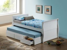 WHITE TWIN CAPTAIN BED W/ TRUNDLE & DRAWERS-W/P2