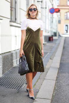 outfit slip on dress zara topshop balenciaga choker necklace-7409