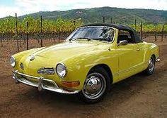 Cute wedding getaway car. Buttercream yellow Kharmann Ghia.