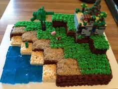 "Minecraft Cake - If you ♥ GEEK CULTURE, come have a look at ♥ GEEKERY PRODUCTS FOR GIRLS board http://pinterest.com/almaisoncloud9/geekery-products-for-girls - I am the French-Israeli designer of ""Mademoiselle Alma"". Inspired by my daughter, ALMA, I create Jewelry made from LEGO bricks, SWAROVSKI crystals and of course, a great amount of imagination. *** http://www.facebook.com/MademoiselleAlma Hope you LIKE my Facebook page-shop ♥ & http://www.etsy.com/shop/MademoiselleAlma"