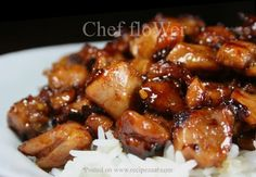 I searched and finally found this recipe on the internet. It is a copycat of the Bourbon Chicken sold in Chinese carry-outs in my hometown.  This recipe is so good that my sons gobble it up leaving me just a spoonful. Their excuse was they thought I had e