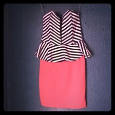 Strapless Peplum Bodycon Dress Striped and peach, bodycon fit, mesh panel through the middle. Zips in back. Really cute, but not my style anymore. Only worn to try on. Dresses Mini