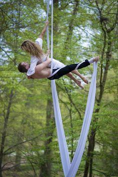 Aerial silks, wedding reception performers idea