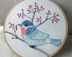 PDF blue bird embroidery pattern