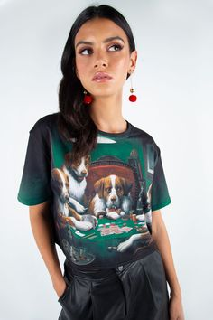 Dogs Playing Poker Cropped BFT – 7 DAY UNLIMITED ($60AUD) by BlackMilk Clothing