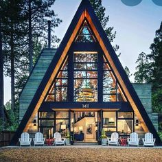 A debilitated A-frame mountain cabin was renovated by High Camp Home in collaboration with MSM Construction, located in Truckee, California. Tiny House Cabin, Cabin Homes, Triangle House, A Frame House Plans, Forest House, Cabins And Cottages, Cabin Design, House In The Woods, Future House