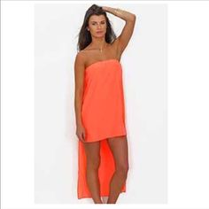 CORAL ORANGE CHIFFON Dress NWOT CORAL CHIFFON CAPE HIGH LOW STRAPLESS MINI SUN DRESS NWOT Dresses Mini