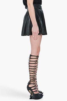 Alexander Mcqueen Black Knee High Wedges for women | SSENSE