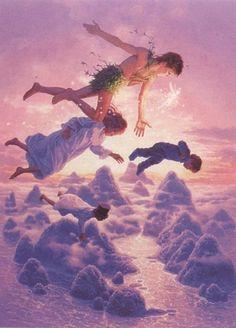 Peter Pan: Shores of Neverland Greg Hildebrandt Peter Pan Kunst, Peter Pan Art, Peter Pans, Peter Pan 2003, Arte Disney, Disney Art, Disney Songs, Disney Quotes, Disney And Dreamworks