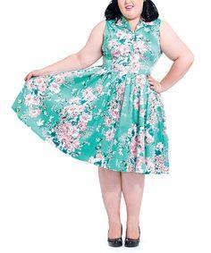 Look at this #zulilyfind! Voodoo Vixen Green Seafoam Dream Fit & Flare Dress - Plus by Voodoo Vixen #zulilyfinds