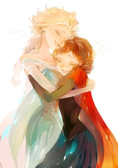 Elsa and Anna art....wish I could make something like this <3