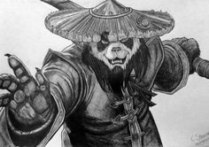 My drawing of Mists of Pandaria. Mists of Pandaria - Fan Art Drawing Warcraft Art, World Of Warcraft, Dark Art Drawings, Cartoon Drawings, Pandaren Monk, Samourai Tattoo, Cool Panda, Panda Drawing, Warrior Drawing