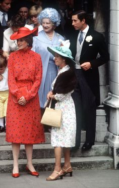 Lady Diana attends the wedding of Nicholas Soames & Catherine Weatherall at St. Margot's Church, Westminster, London, June 4, 1981. Diana is standing next to Princess Margaret.