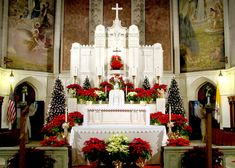 St. Mary's altar at Christmas - always beautiful.  Mom was baptized here and received her First Communion and Confirmation here as well.  In 1952 Mom and Dad were married here, and all 5 children were baptized here, as well.