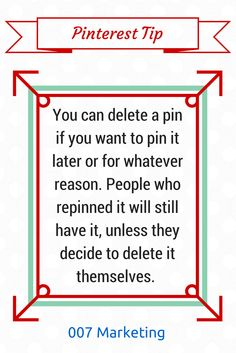 #PinterestTipoftheDay If you want to delete a pin for whatever reason, do it. The repins it got will stay on Pinterest unless the pinners who repinned it decide to delete it themselves. Click the image to see more #PinterestTips