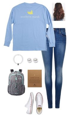 """ootd"" by gabbbsss ❤ liked on Polyvore featuring Dr. Denim, Nouv-Elle, Converse, The North Face and Dogeared"