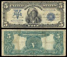 American Currency   271904. USA , SilverCertificate , 5 dollars P340 1899 Onepapa, Elliott ...