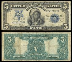 American Currency | 271904. USA , SilverCertificate , 5 dollares.