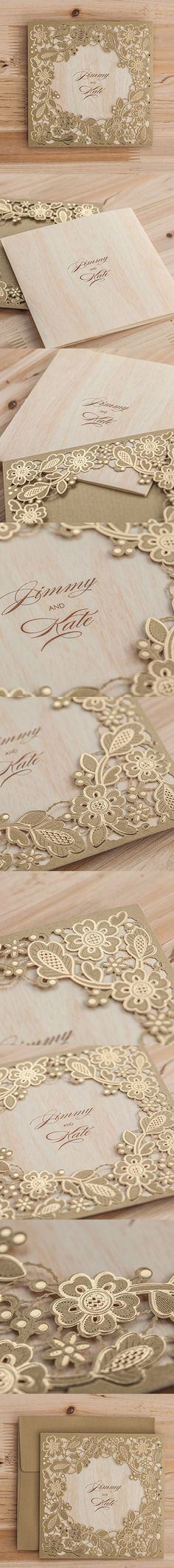 Wishmade 50x Gold Laser Cut Square Wedding Invitation Cards Kits with Embossed Hollow Floral Favors Bridal Shower Engagement Birthday Baby Shower Quinceanera Graduation Cardstock(set of 50pcs) CW5279