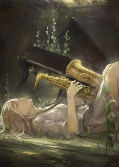 Anime / Manga Music Old Piano Saxophone Enchanted Forest