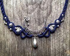 Macrame necklace elven tiara Prehnite Custom by creationsmariposa