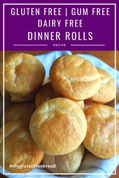 These delicious gluten free, dairy free, and gum free dinner rolls are tender, high rising and have no xanthan gum or guar gum! These are warm, fresh from the oven roll that melt in your mouth Gluten Free Dinner Rolls, Gluten Free Snacks, Foods With Gluten, Gluten Free Baking, Gluten Free Recipes, Gf Recipes, Bread Recipes, Chicken Recipes, Dinner Recipes