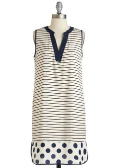 Awe and Border Dress - Polka Dots, Stripes, Print, Casual, Shift, Sleeveless, Spring, Woven, Mid-length, Cream, Blue, Nautical, Vintage Inspired, 60s