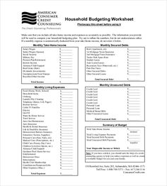 Monthly Household Budget Template   Household Budget Template
