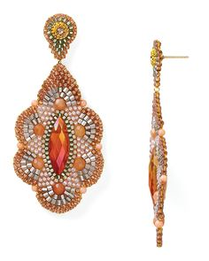 Miguel Ases Nectarine Quartz and Peach Moonstone Flower Drop Earrings | Bloomingdale's