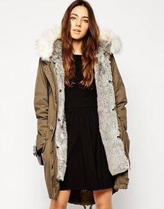 ASOS Parka With Detachable Faux Arctic Fur Lining & Hood - Khaki and white