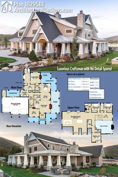 Architectural Designs Luxurious Craftsman House Plan 18295BE gives you over 4,800 square feet of heated living space plus a wrap around covered porch, side pergola, and rear wrap around porch provides plenty of outdoor living space. Ready when you are. Where do YOU want to build?