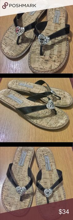 4384b3a72 BRIGHTON Classic Heart Flip Flops Sandals Size 8 Gorgeous Black patent  leather flip flops with classic Brighton Heart.