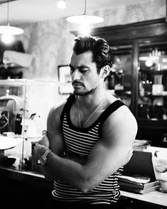 Asking the important questions with Super Model David Gandy. A classic portrait shot by David Goldman for Shortlist Magazine.