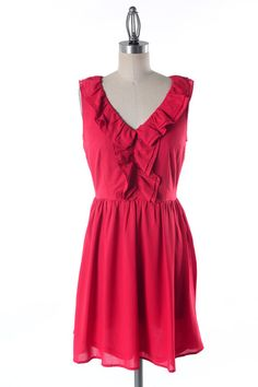Love this red dress with neck ruffle.  Perfect for an event or wedding $52
