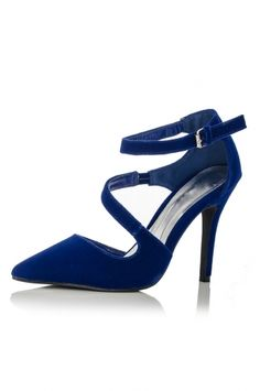 Blue Curl Strap Pointed Court Shoes