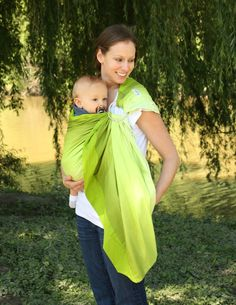 Prestige Ring Sling Baby Carrier Baby Sling  Green by SnuggyBaby, $99.00