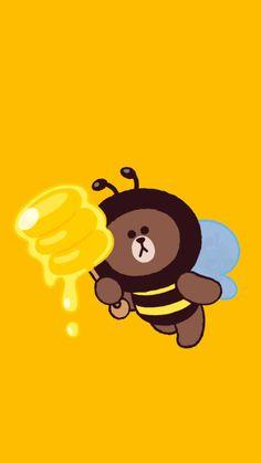 Brown Bee •blue• Lines Wallpaper, Bear Wallpaper, Kawaii Wallpaper, Cute Bear Drawings, Friends Wallpaper, Hello Kitty Wallpaper, Bear Cartoon, Line Friends, Line Sticker