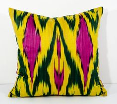 15x15 yellow green magenta ikat pillow cover yellow by SilkWay