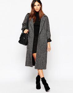 Image 1 - Helene Berman - Manteau style paletot oversize en tweed avec ceinture à la taille - Gris