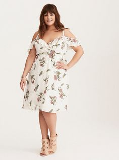 Special Occasion Floral Print Ruffled Cold Shoulder Mini Dress, BOTANICAL COLLAGE