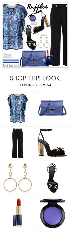 """""""Ruffled Tops and TwinkleDeals 29"""" by spenderellastyle ❤ liked on Polyvore featuring Casadei, Estée Lauder, MAC Cosmetics, Guerlain, twinkledeals and ruffledtops"""