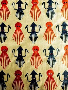 Vintage Octopus and Squid Fabric