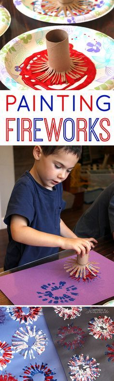 Painting Fireworks 4th of July Kids Craft Activity                                                                                                                                                                                 More