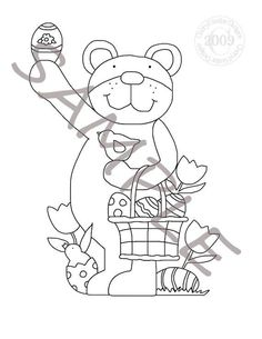 Easter Bear Applique Stitchery Painting Pattern by petestreasures, $1.50