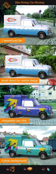 Mini Pickup Car Mockup - Vehicle Wraps Print