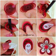 🔴 TUTORIAL 🔴 a big loose coil using red colored strip. it in a cylinderical shape as shown. a paintbrush and… Quilling Flowers Tutorial, Paper Quilling Flowers, Paper Quilling Cards, Quilling Work, Paper Quilling Patterns, Quilling Paper Craft, Flower Tutorial, Quilling Flower Designs, Quilling Videos