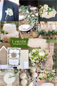 Decoração de Casamento : Paleta de Cores Verde e Nude   http://blogdamariafernanda.com/decoracao-de-casamento-paleta-de-cores-verde-e-nude